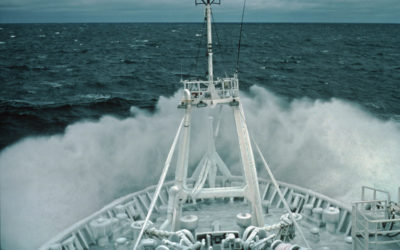 RRS James Clark Ross iced up in heavy seas