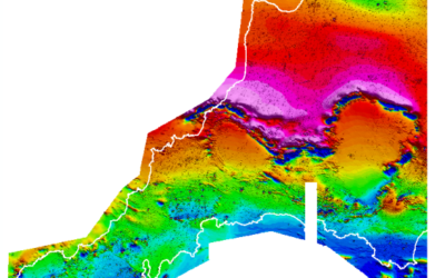 Tellus South West map of the magnetic properties of the rocks below Devon and Cornwall. Experts will use this data to assess the extent and value of mineral deposits below ground (Credit: Tellus South West)