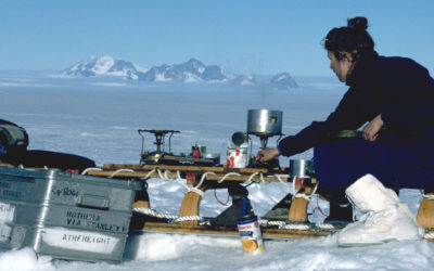 cooking on a sledge at Mars Oasis on Alexander Island, Antarctica