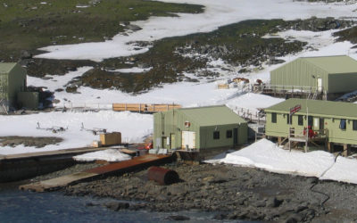 Signy research station buildings with snow on the ground