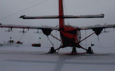 BAS aeroplane on top of a snow covered slope