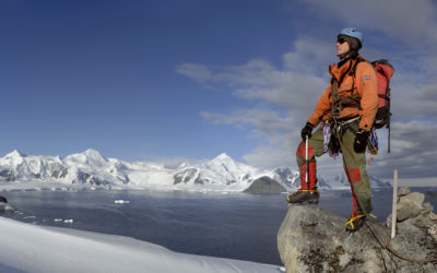 BAS field Assistant/Polar guide during a training excersize on Reptile Ridge close to the BAS Rothera Research Station