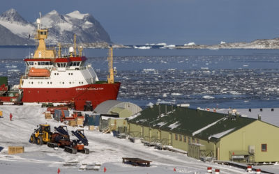 RRS Ernest Shackleton at Rothera Research Station during the late summer relief.