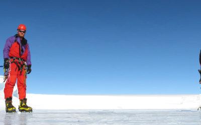 Four climbers stood on ice