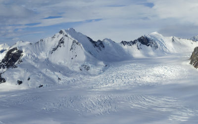 A view looking east across the Antarctic Peninsula during a flight back to Rothera Station from Fossil Bluff