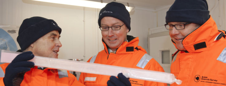 Parliamentarians in the Ice core freezer rooms, during a climate science briefing at BAS Cambridge