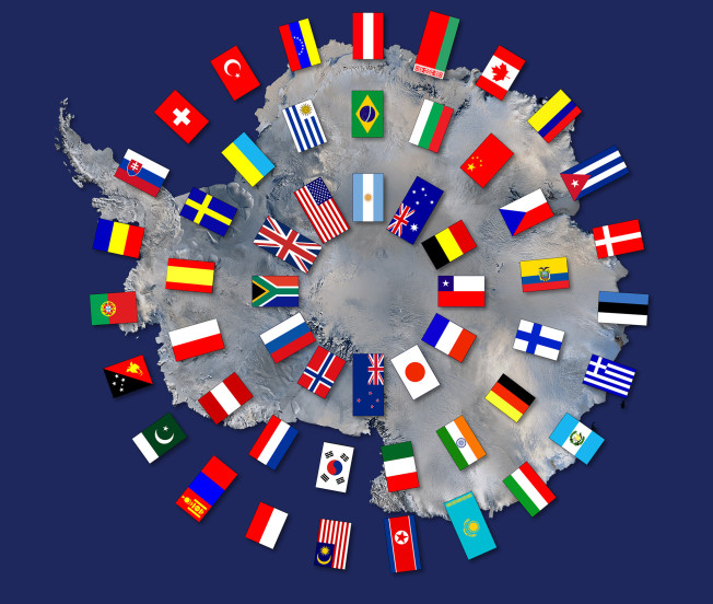 Flags of the Antarctic Treaty Nations, as at June 2015