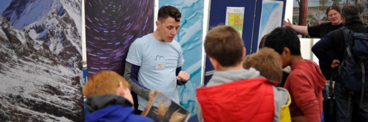 Huw Griffiths talks 'polar marine beasties' to children at a public exhibition