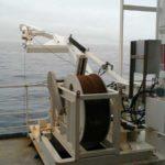 RRS James Clark Ross echo sounder davits sound velocity probe (port)