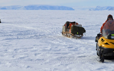field travel towing a RADAR sledge on the Larsen Ice Shelf