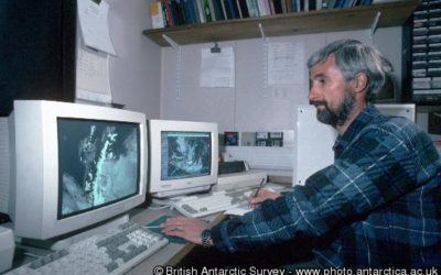 Meteorological Forecaster Steve Wattam looks at Antarctic Reception Imagery for Environmental Studies (ARIES) satellite images recieved at Rothera Research Station, Adelaide Island, Antarctica