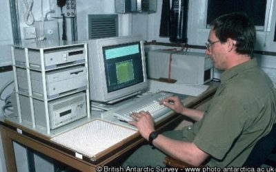 Phil Tranthan uses a terminal in the VAX  computer room on the James Clark Ross