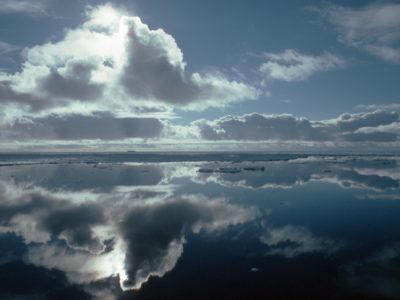 Cloud reflections and pack ice in the Weddell Sea