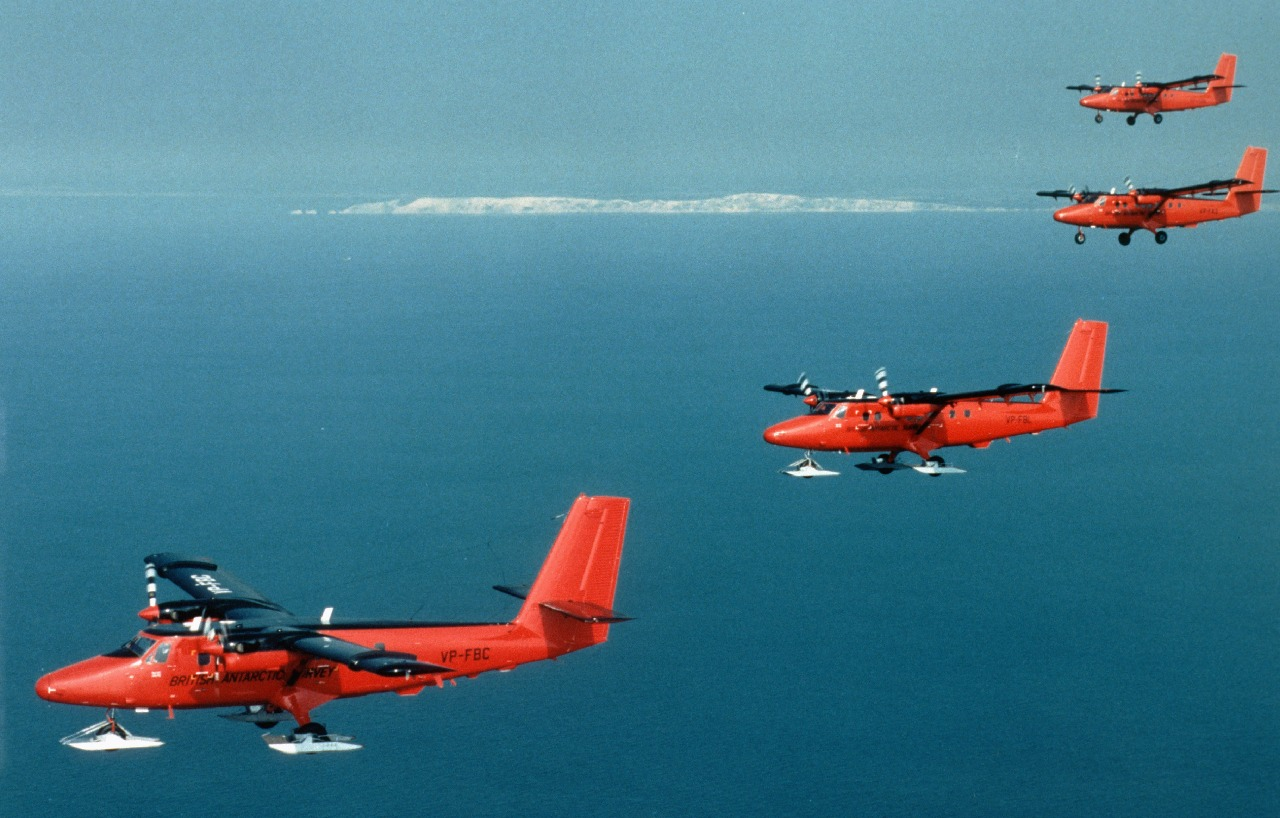 The BAS fleet of four Twin Otter aircraft flying in formation on ...