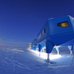 Winter image of the Halley VI Research Station on the Brunt Ice Shelf in Antarctica