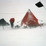 High winds making life difficult at a field camp. No work today! These winds are around 30 knots, often 60 knots are encountered but few photographs are taken then!