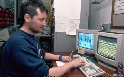 Richard Yeo checks data in the VLF room on the SSB at Halley Research Station, Antarctica