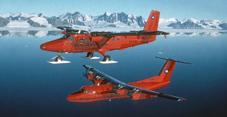 British Antarctic Survey ski-equiped Twin Otter and Dash-7 aircraft in Antarctica.