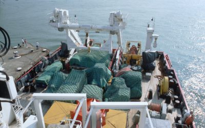 Cargo on the aft deck of RRS James Clark Ross.