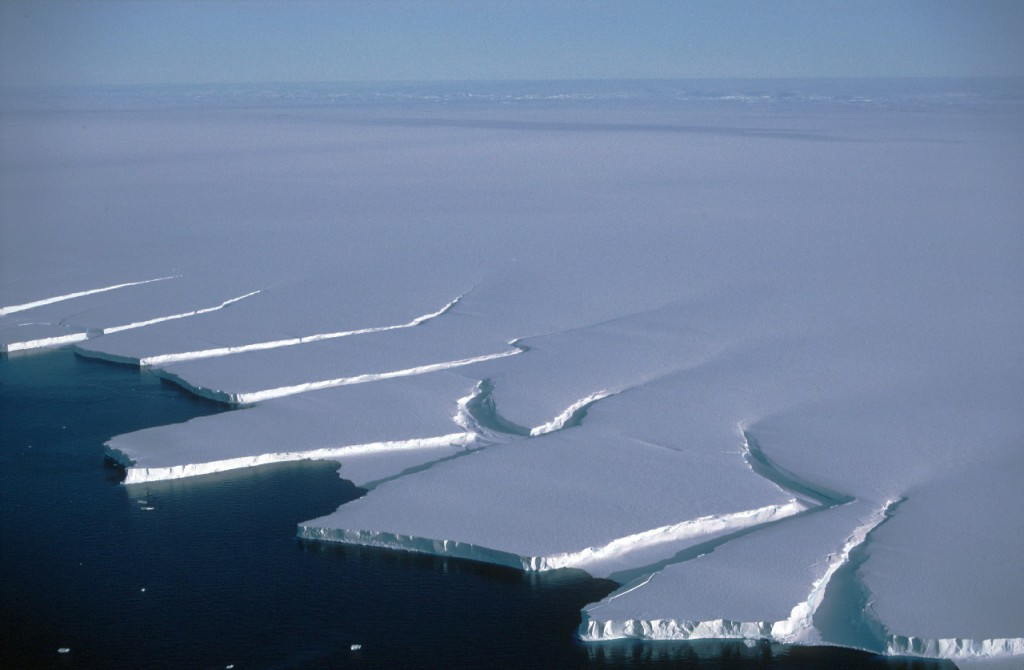 Icebergs calving from the edge of the Brunt Ice shelf, Weddell Sea.