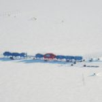 Aerial view of Halley VI Research Station on the Brunt ice shelf Antarctica