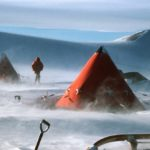 Field camp in blowing snow
