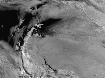ARIES satellite image acquired at Rothera receiving station which shows clouds and sea ice distribution