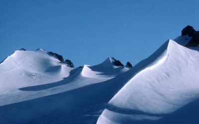Wind scoops and ridges around Antarctic Peninsula mountains