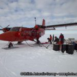 BAS Twin Otter refueling at Fossil Bluff