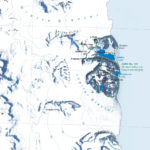 Close up view of a segment of the Central Alexander Island published map showing the Antarctic Specially Protected Area (ASPA) at Ablation Valley and Ganymede Heights with LIMA satellite image backdrop.