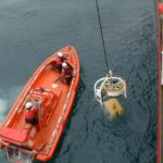 RRS Ernest Shackleton fast rescue craft in water
