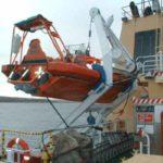 RRS Ernest Shackleton fast rescue craft on gantry