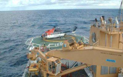 RRS Ernest Shackleton helicopter deck with helicopter