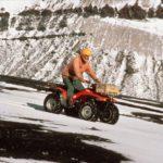 Ash Morton ( GA) riding a Honda ATV on north flank of Wensleydale Beacon.
