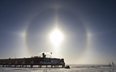 A sun halo above the Laws Platform at Halley V Research Station, Brunt Ice Shelf