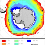 Map showing sea-surface temperatures of the Southern Ocean. Geographic data can form an important part of science projects at BAS.