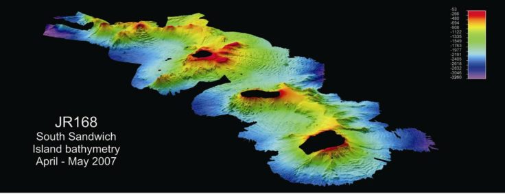 Multibeam bathymetry example 1 - Bathymetry around the South Sandwich Islands
