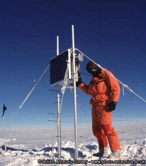 BAS scientist checking one of the remote low power magnetometers. These systems can operate unattended on the Antarctic Plateaux in temperatures as low as -78degrees Celsius