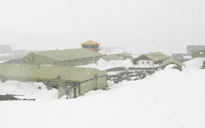 Rothera Research Station in bad weather