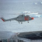 Lynx helicopter from HMS Endurance landing on HMS Polar Circle.