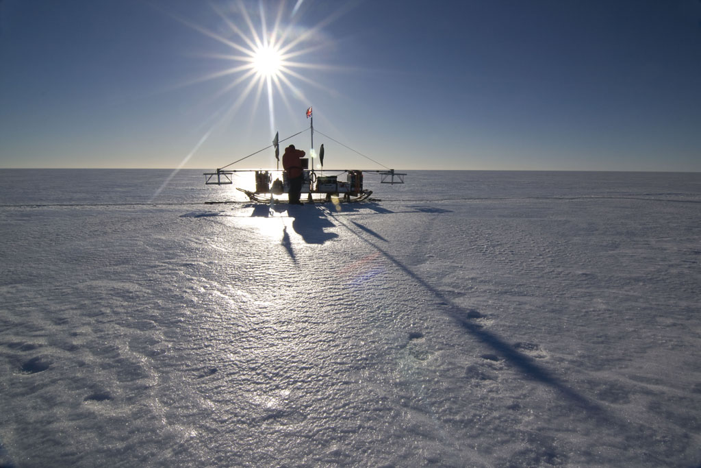 BAS RADAR Sledge on the Larsen Ice Shelf (Photo: Adam Clark, British Antarctic Survey)