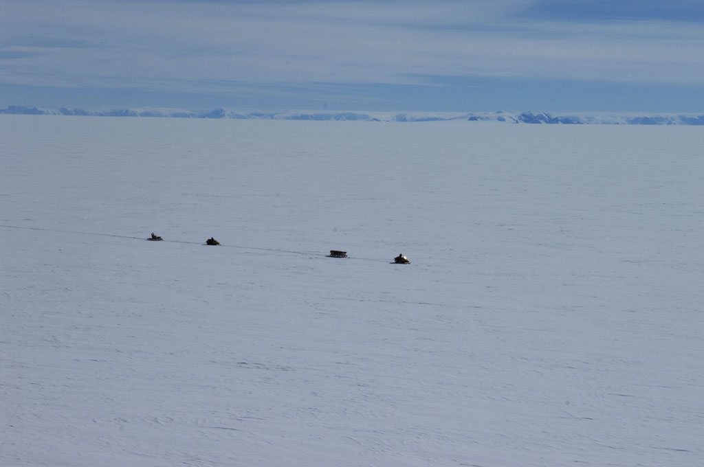 BAS field party travel on the Larsen Ice Shelf (Photo: Pete Bucktrout, British Antarctic Survey)