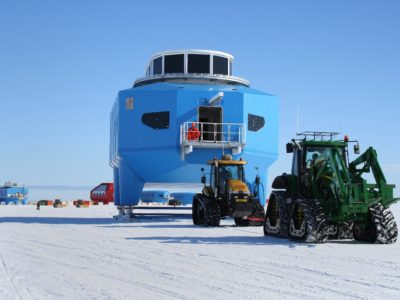 Module H2 being towed to Halley VI site