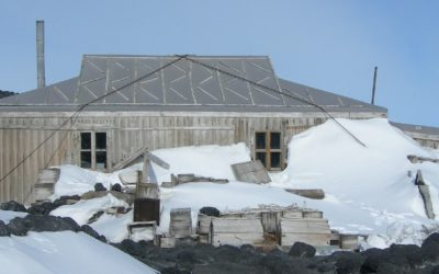 Outside view of Scott's Hut, built for the 1910-1913 Terra Nova expedition to the South Pole.