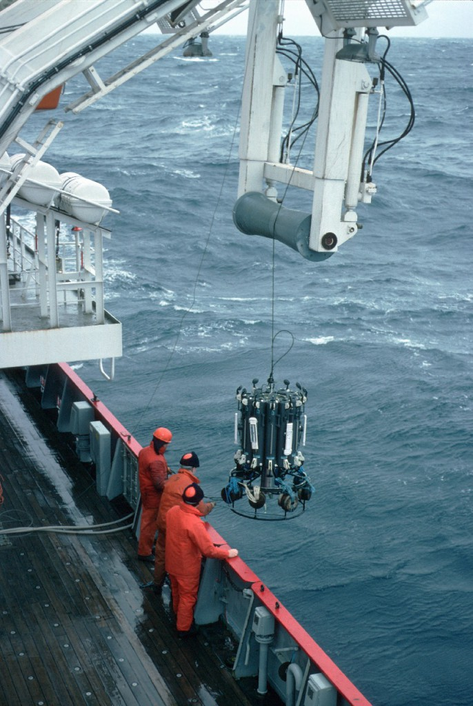 The CTD is deployed from the side gantry of the James Clark Ross The CTD records Conductivity (salinity), Temperature and Depth. From these the water density and the ocean currents can be derived.