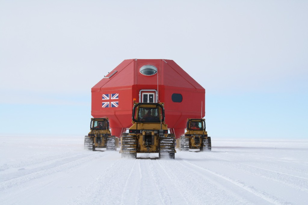 Module A being towed to Halley VI site - rear elevation