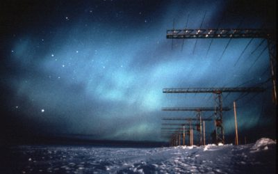 Aurora above the log-periodic antenna system of the Southern Hemisphere Antarctic Radar Experiment (SHARE) formerly called Polar Anglo-American Conjugate Experiment (PACE). SHARE uses high frequency backscatter radar to investigate the structure and dynamics of the ionosphere from the ground.
