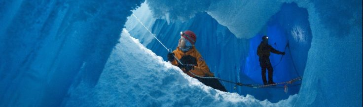 Dr Claire Lehman on a recreational crevasse visit during field training close to Rothera Research Station on Adelaide Island just off the Antarctic Peninsula