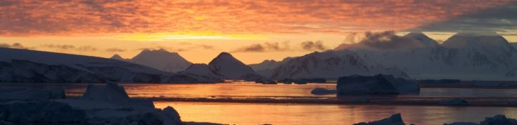 Sunset over Adelaide Island, Antarctic Peninsula.