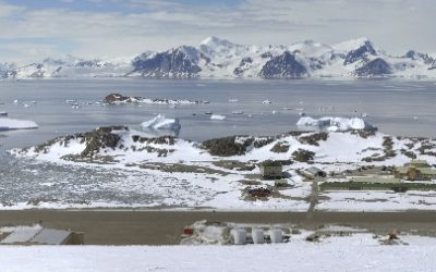Panoramic view of Rothera Research Station, Antarctica.